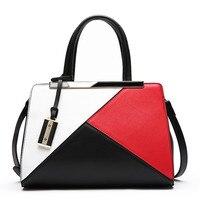 Fashion stitching handbag brand bolsa feminina bag 2018 new women 100% genuine leather shoulder bag free Shipping