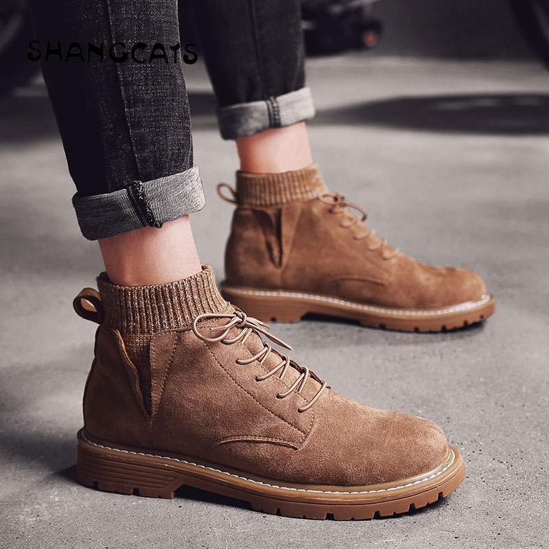 Men Vulcanized Shoes winter ankle shoes for Student wild board shoes fashion casual high top high quality warm footwear khaki