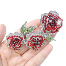 Bella Fashion Clear Red Flower Rose Brooch Pin Austrian Crystal Rhinestone Brooch For Women Party Jewelry Christmas Gift