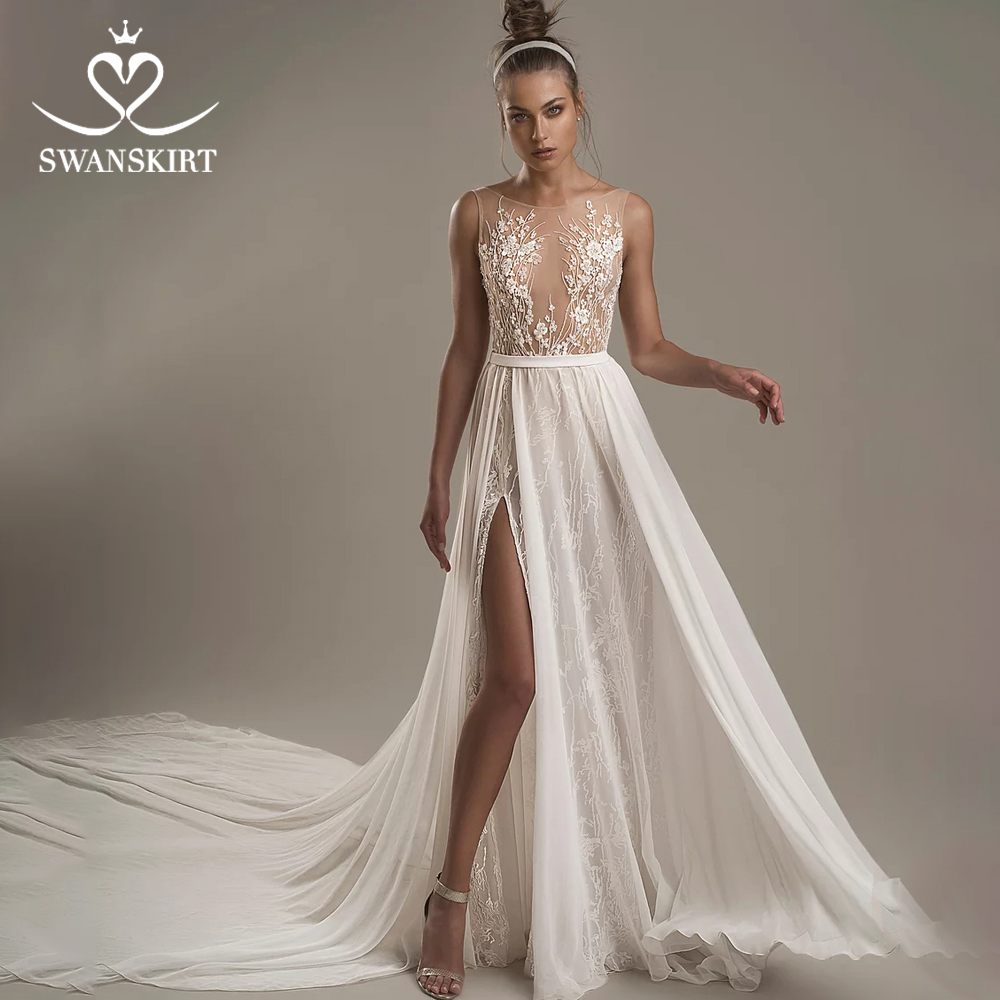 Swanskirt Sexy Backless Wedding Dress 2019 Boho Appliques Fairy Bow Illusion In Turkey Princess Customized Vestido De Noiva T101