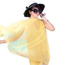 2018 fashion chiffon scarf wrap shawl for women solid color summer beach Long scarves muslim foulard femme Scarves