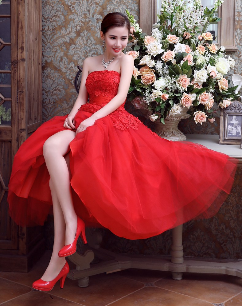 Strapless Sexy Red Lace Prom Dresses Tea Length Tulle Puffy Prom Dress  Corset Evening Party Gowns Mid Calf Banquet Dress 2019-in Prom Dresses from  Weddings ... 9534fa5d5cc4