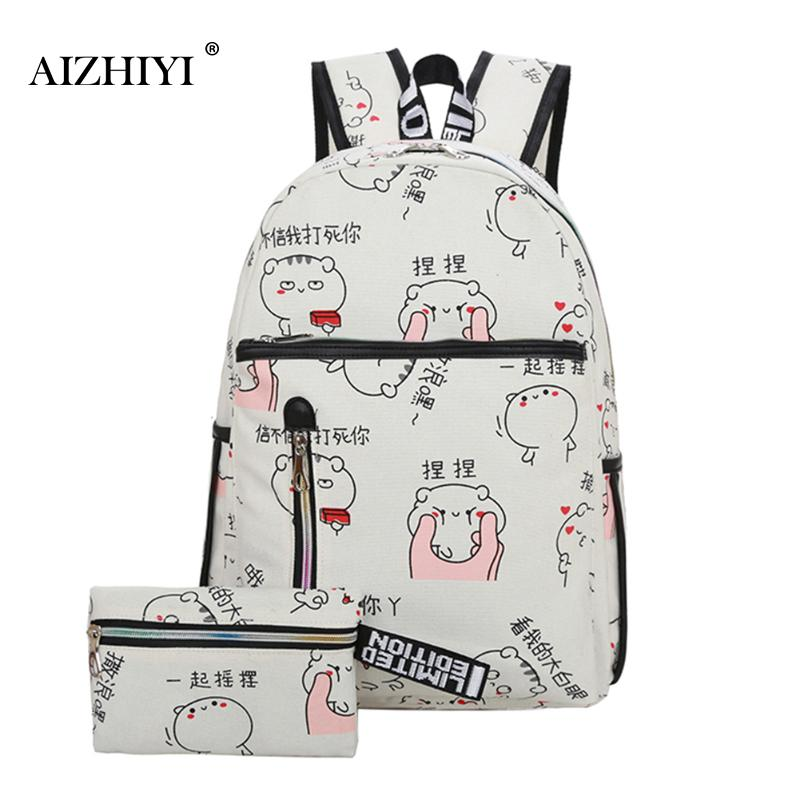 73ad19900c2 Best buy Women Backpack Cartoon Printing Canvas School Bags For Teenager  Girls 2 PCS Set Preppy Style Rucksack Book Bag Mochila Feminina online cheap