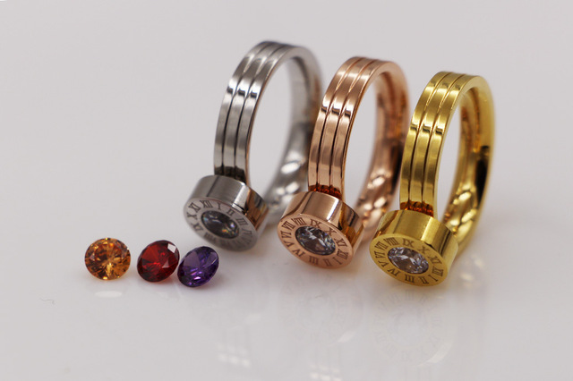 TYME Stainless Steel Rome digital four color zircon gold ring