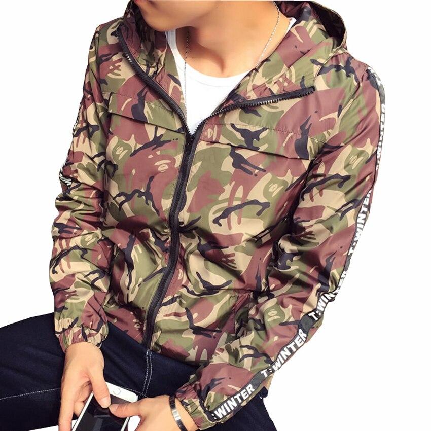 c3fece4ea45f7 New Fashion Trend pria Merah Abu abu Army Kamuflase Jaket Musim Semi Musim  Gugur Ramping Berkerudung Mens Jaket dan Mantel Jaket Tipis 5XL di Jaket  dari ...