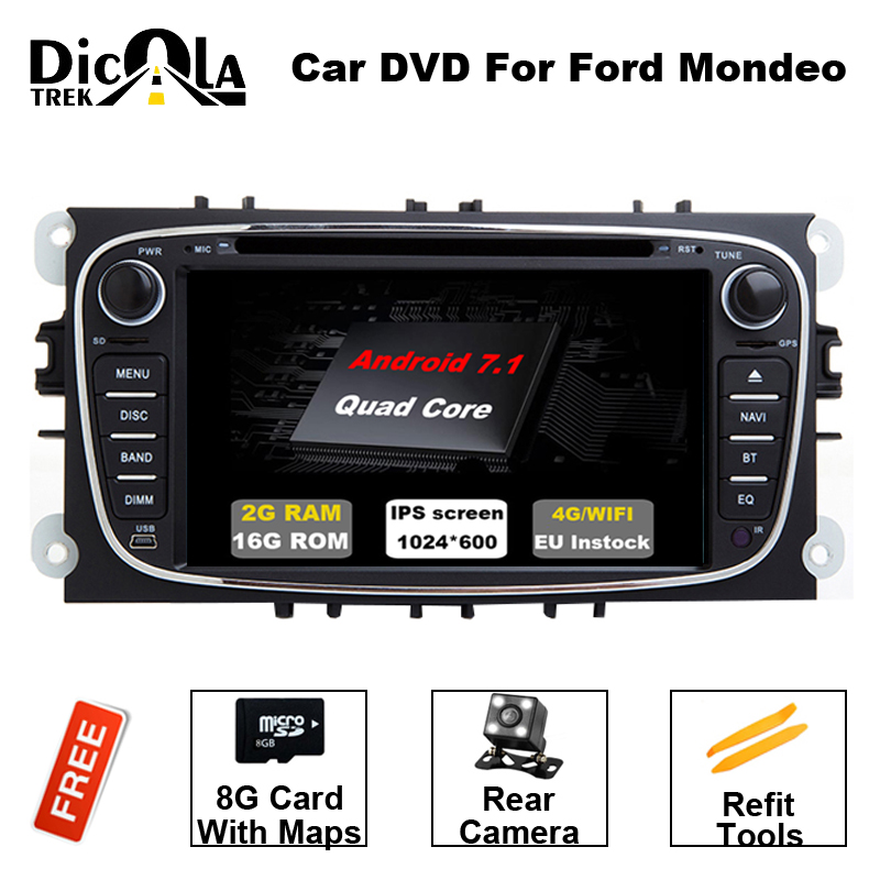 2 Din 7''Android 7.1 Car Radio DVD Player GPS Navigation Bluetooth Car Stereo For Ford Mondeo/Focus Wifi 4G DAB+Headunit