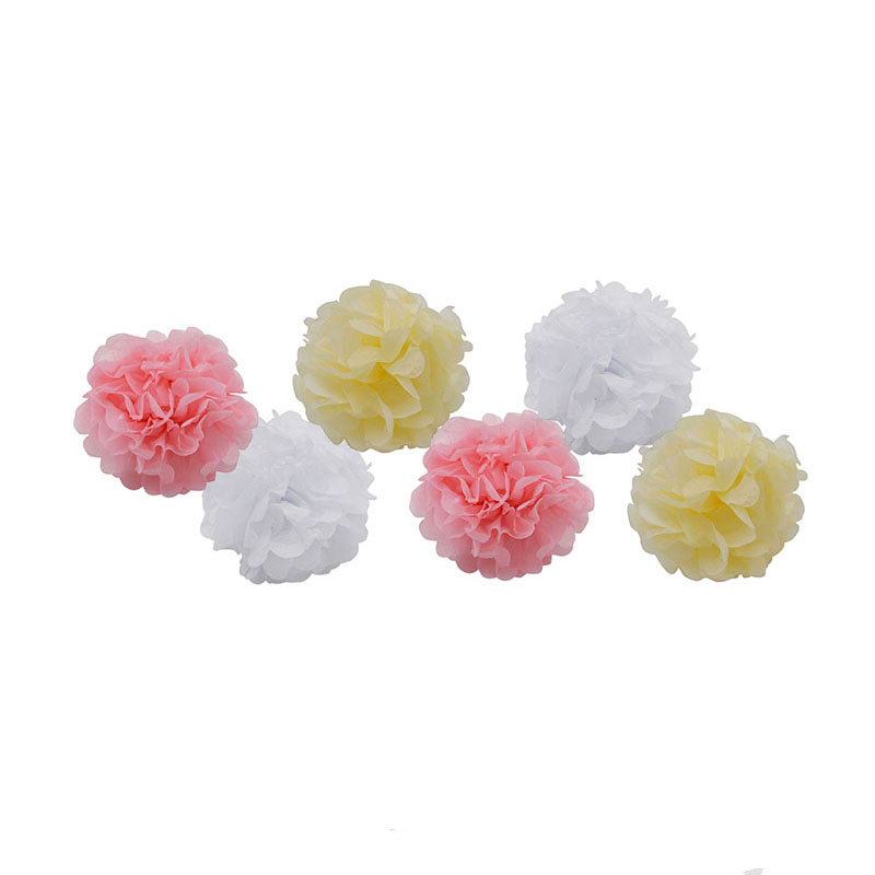 6PCS set Handmade 10 39 39 25CM Tissue Paper Pom Poms Paper Flower Ball For Home Garden Wedding Birthday Party Xmas Car Decoration in Artificial amp Dried Flowers from Home amp Garden
