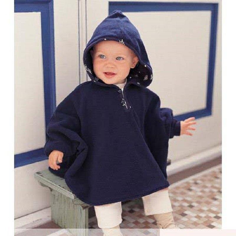 Зима Детская Одежда детская пальто Реверсивный Пончо Верхняя Одежда С Капюшоном Платье Куртка Bebe Новорожденный Плащ Пальто