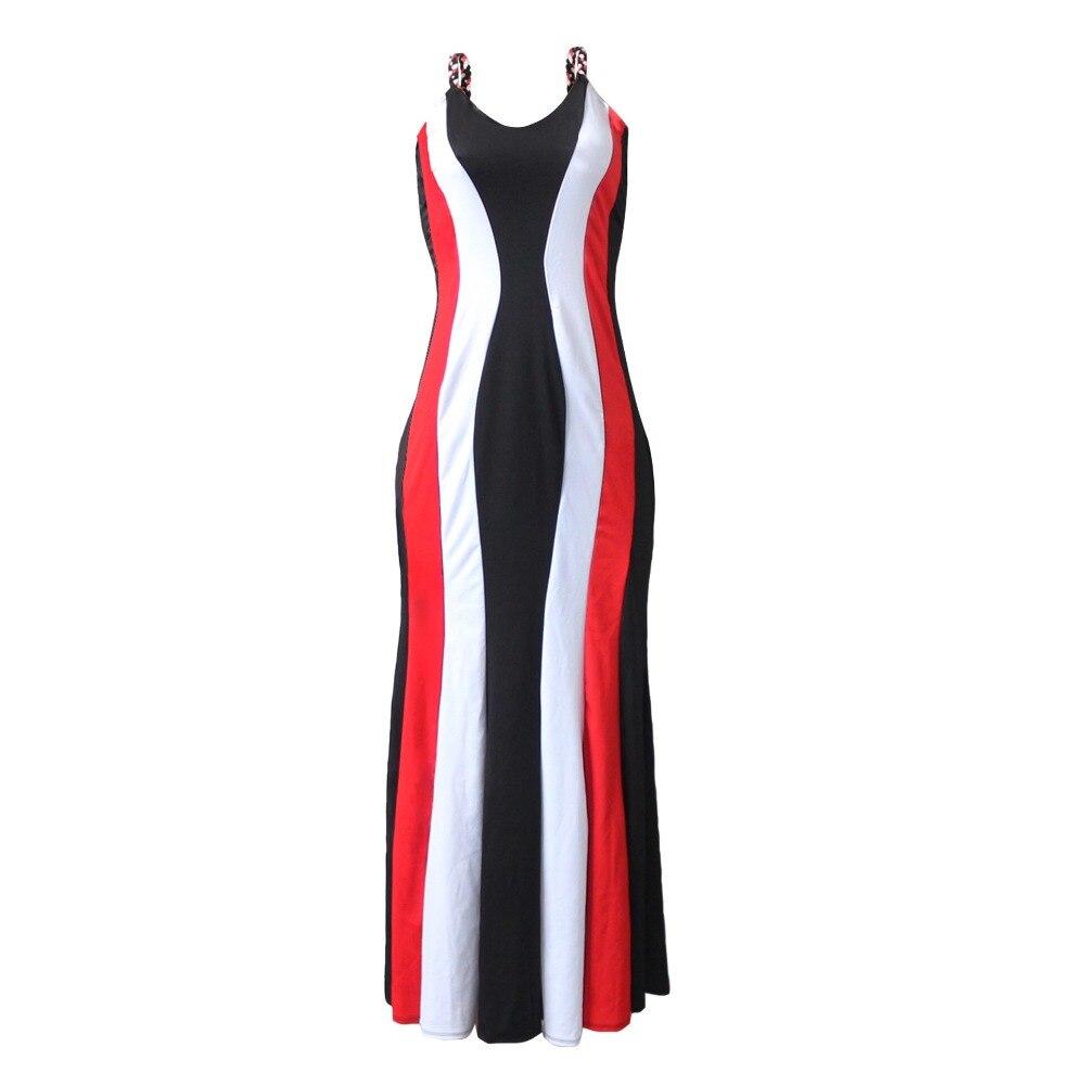 (3 Maten: L Xl Xxl) 2019 Nieuwe Mode Gebreide Gallus Backless Sexy Jurk Dashiki Famous Brand Multicolor Lange Jurken Voor Lady/vrouwen Quell Summer Thirst