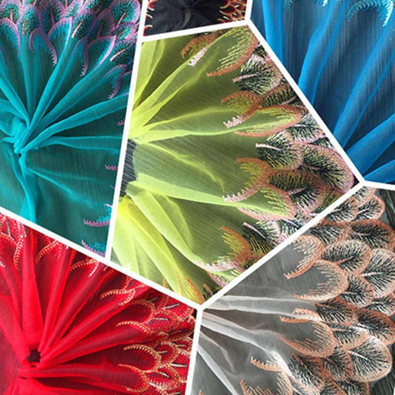 Tessuto del merletto del Fiore Ricamato Garza Da Sposa Del Tubo della Sposa di Trascinamento Del Vestito del Pannello Esterno Per 21 centimetri Bambole Divano Abbigliamento Accessori Per il Cucito
