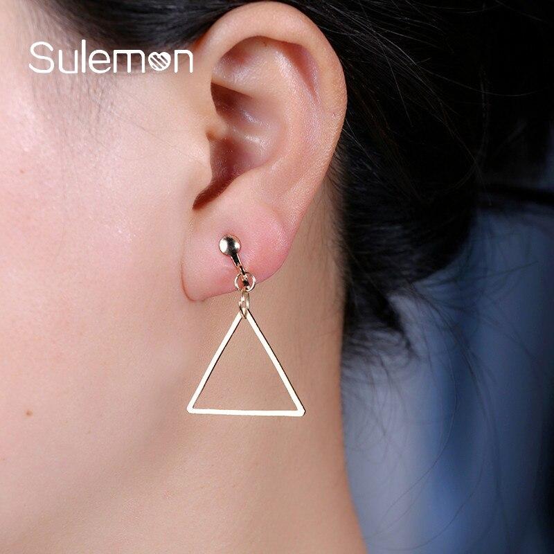 Enkel Metal Triangle Clip Örhängen Utan Piercing Trendig Hollow - Märkessmycken