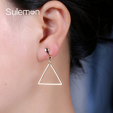 Simple Metal Triangle Clip Earrings Without Piercing Trendy Hollow Triangle Pendant Earring For Women Geometric Jewelry CE15