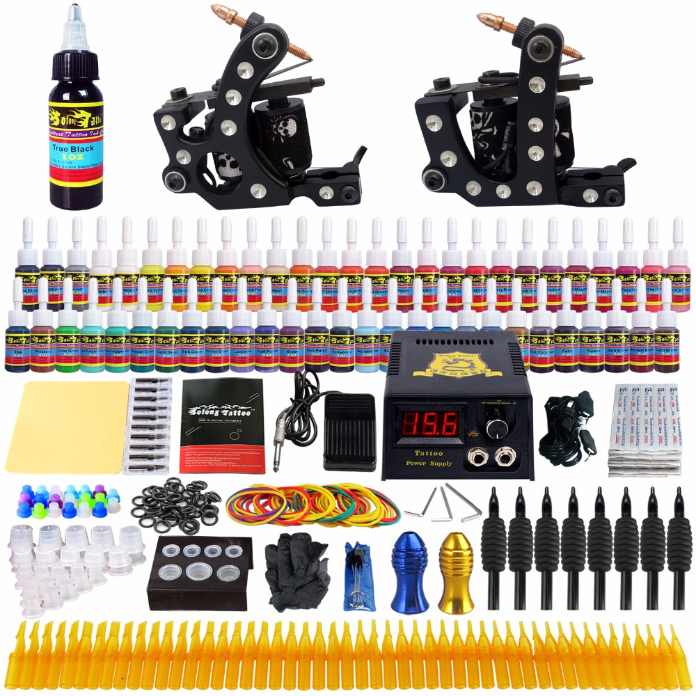 Solong Tattoo Complete Tattoo Kit 2 Machine Guns Complete Set Power Box 54Color Ink Needle TK256
