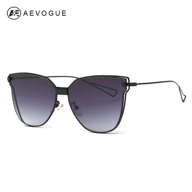 AEVOGUE gafas de Sol Mujeres Diseñador de la Marca de Gran Tamaño Del Ojo de Gato de Cobre Marco UV400 Gafas de Sol Con la Caja de Un Solo Haz AE0466