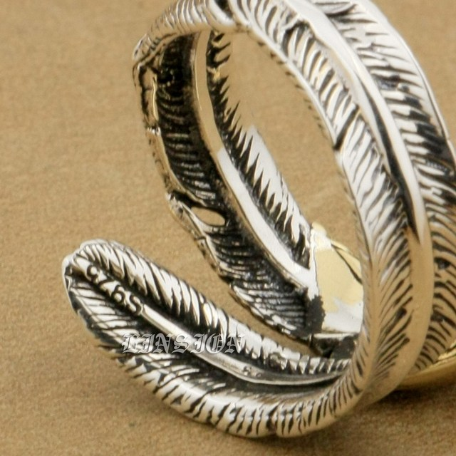 925 Sterling Silver Feather Brass Eagle Fashion Ring 9T023 Free US Size 6 to 9