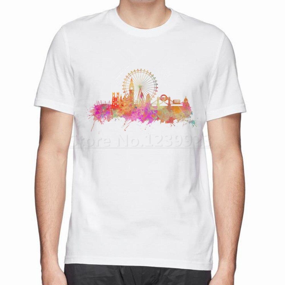 Shirt design london - London Skyline Print New Tops Tees Cotton T Shirt Fresh Design Hot Clothes Men Cotton