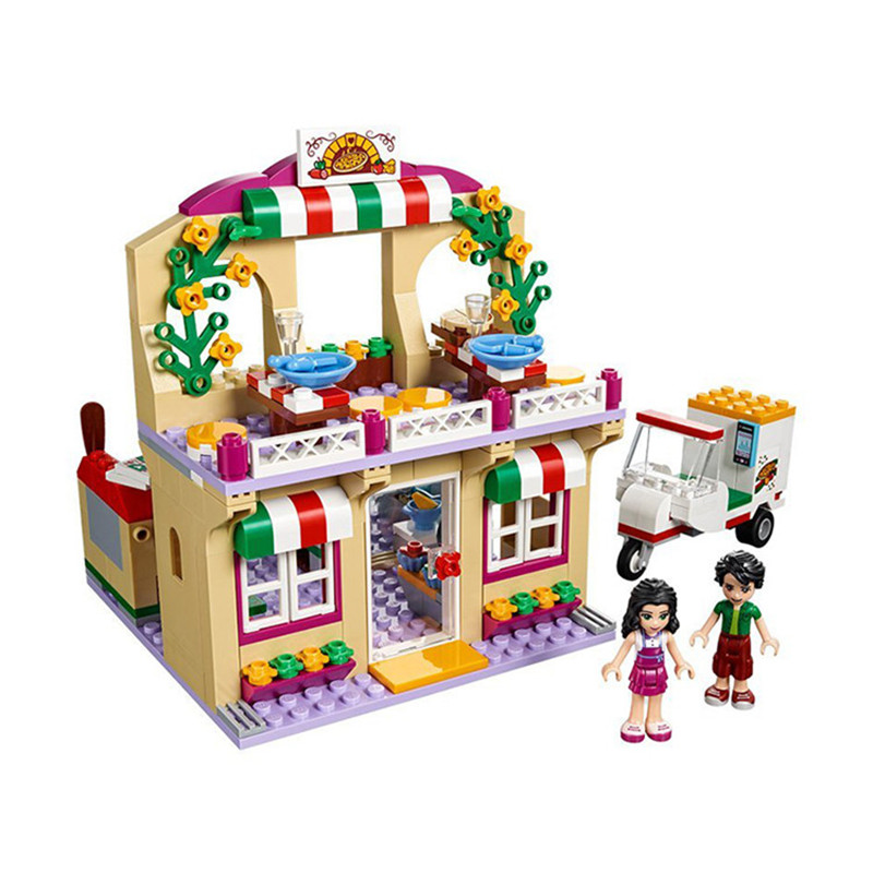 Lepin 01011 Princess Girl Friend Series HeartLake City Pizza Restaurant Model 299Pcs Building Blocks Bricks Toys Kids Gifts bela 10611 friend princess heartlake summer pool model building blocks bricks girl educational toys for children gifts 41313