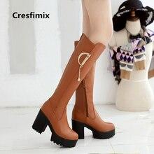 Moda feminina confortável marrom botas de salto alto botas femininas botas de senhora botas de rua ocasional senhora bonito outono inverno longo bota e2310