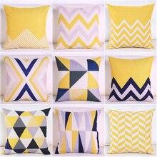 2018 NEW Nordic Yellow Geometric Cotton Linen Cushion Cover Modern Minimalist  Fashion Pillow Decorative For Car Sofa