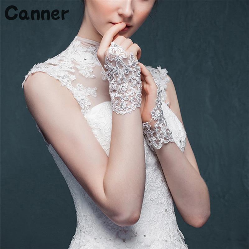 Canner Women Fingerless Bridal Gloves Elegant New Wedding Accessories White Red Lace Rhinestone Dress Gloves