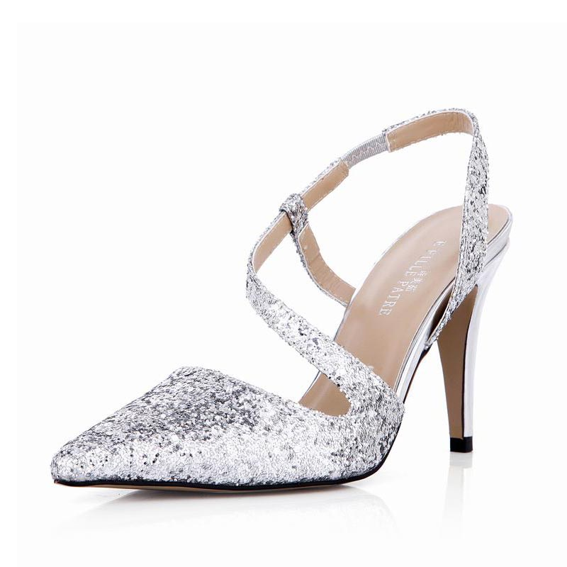 New Sexy High Heels Women Sandals Pointed Toe Sequins Woman Ladies Dress Party Valentine Club Shoes Zapatos Mujer Tenis Feminino plus size sexy high heels women pumps pointed toe woman ladies party valentine dress wedding shoes tenis feminino zapatos mujer