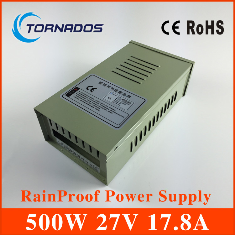 customized 27v 500W Rainproof Power Supply for Outdoor LED Lighting/ Moving Sign Applications FY-500-27