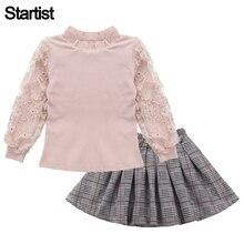 Одежда для девочек, кружевная толстовка с рукавами + клетчатое платье, комплект из 2 предметов, одежда для девочек подростков, повседневная одежда для детей 6, 8, 10, 12, 13 лет