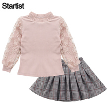 Clothes For Girls Lace Sleeve Sweatshirt +Plaid Dress 2PCS Teenage Girls Clothing Casual Clothes For Children 6 8 10 12 13 Year