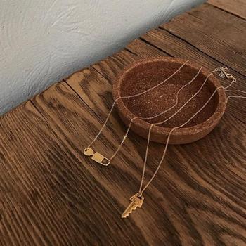 2efa4580b104 925 Plata de Ley 100% llave y cerradura colgantes collares para mujer  gargantilla Color oro plata esterlina joyería clásico regalo de mujer