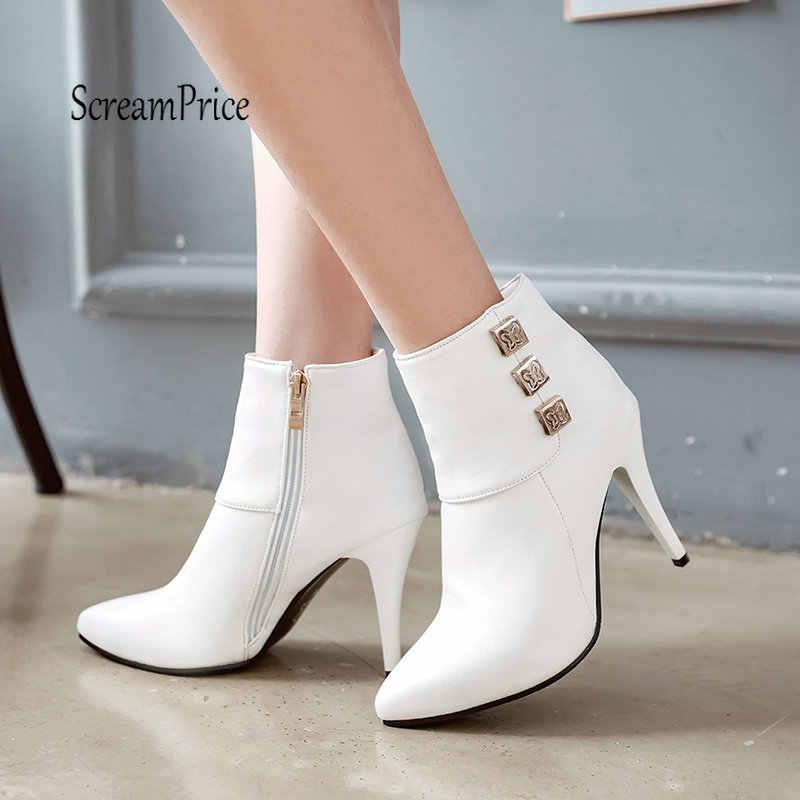 Kadınlar Seksi Ince Yüksek Topuk yarım çizmeler Moda Yan Fermuar Bahar Sonbahar Kadın Ayakkabı Beyaz Siyah