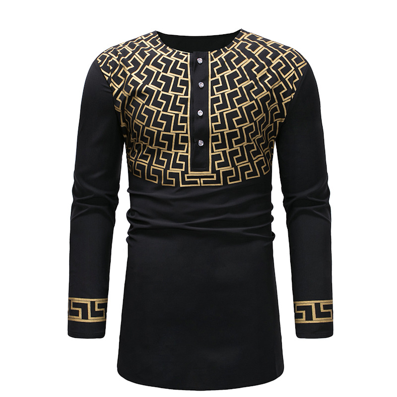 Adult Men Black Golden Geo Print Dashiki Print Top Shirt Screw O-Neck 1/2 Button Long Shirt African Wear Tunic For Men M-3XL