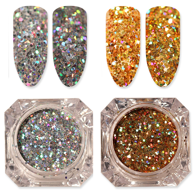 2 Boxes Holographic Nail Glitter Flakes Gold Silver 0.6mm Hexagon ...
