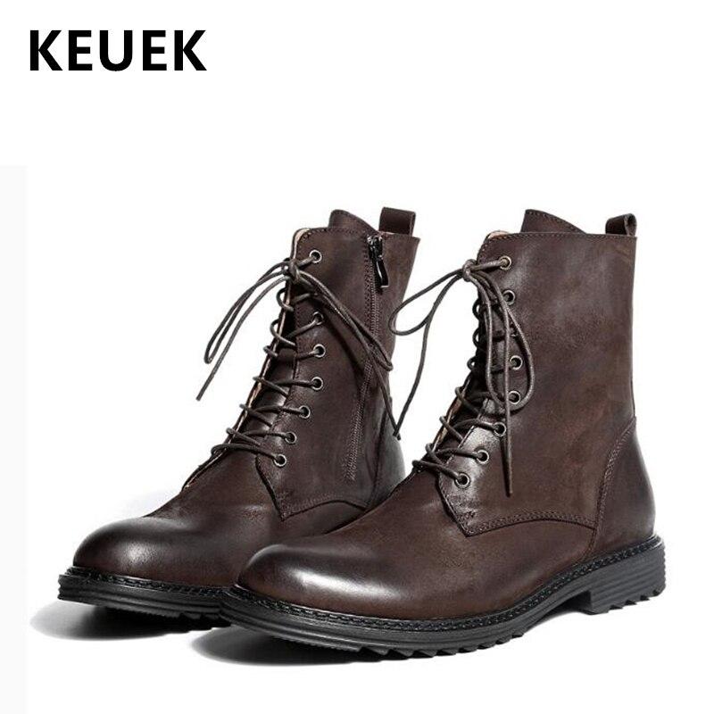 Роскошные мужские ботинки; Модные Винтажные военные ботинки; рабочие ботинки; ботильоны из натуральной кожи в байкерском стиле; botas hombre; 02A