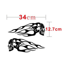 Customizable Flame Sticker Skull Decals Motorcycle Gas Tank Vinyl Stickers Laptop Car Accessories Decorative Decal