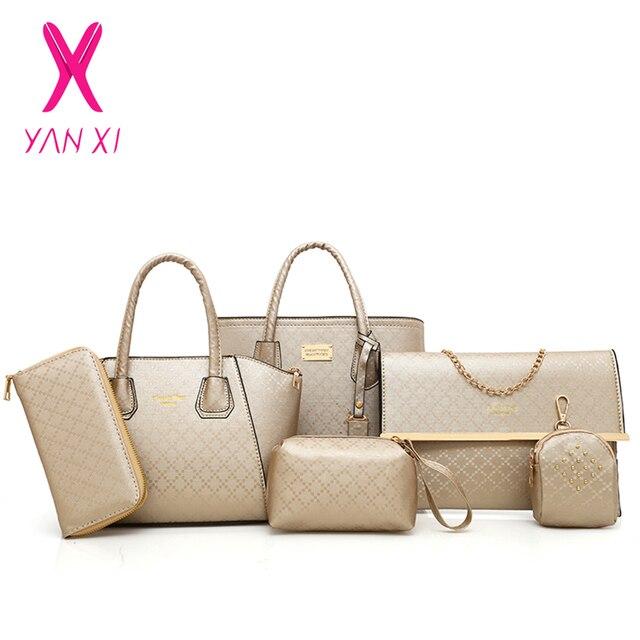 8b96b57f4b YANXI 6 pièces/ensemble femmes nouveau sac à main Composite mode diamant  treillis bandoulière sacs en relief femme