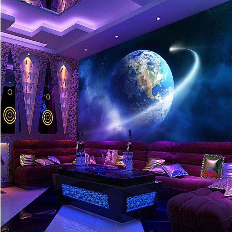 US $8.25 45% di SCONTO|Beibehang dreamy glow star universe 3 d parete foto  murales camera da letto carta da parati TV in salotto 3 d papel de ...