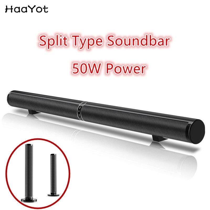 HAAYOT 50W Bluetooth Wireless Speaker Soundbar Split Wall Mounted TV Home Theater Surround Stereo Sound Bar
