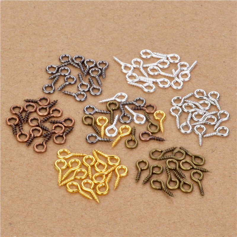 200pcs Small Tiny Mini Eye Pins Eyepins Hooks Eyelets Screw Threaded Gold Silver Bronze Clasps Hooks Jewelry Findings 9*4mm
