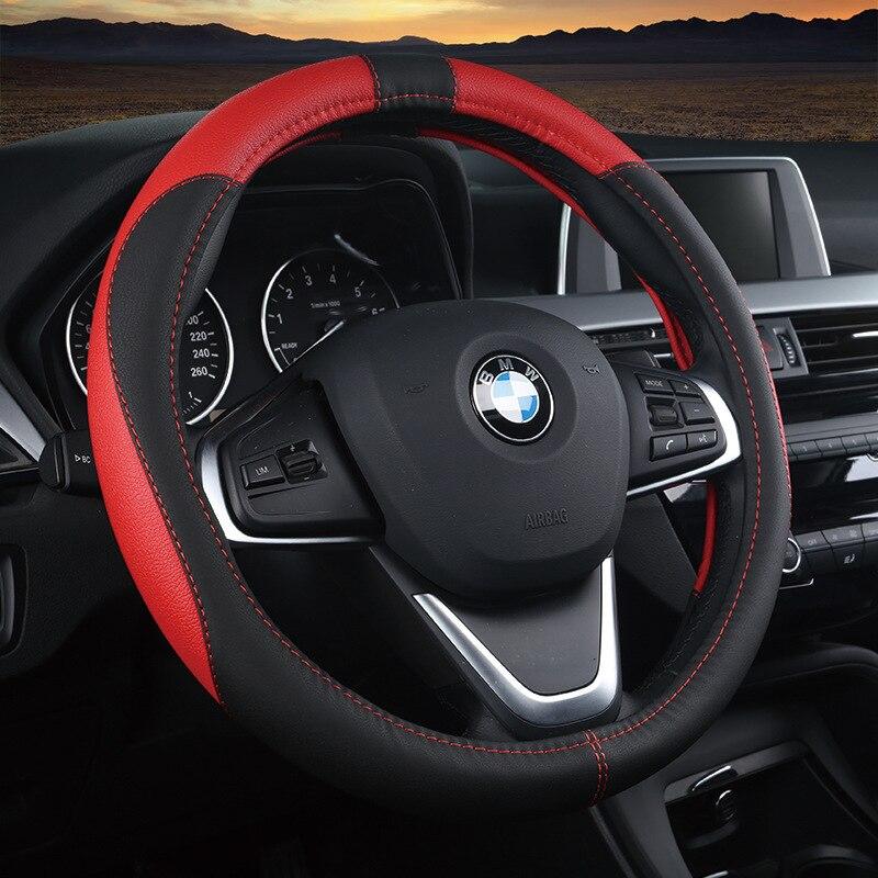 Automotive interior accessories 38cm automotive universal steering wheel cover, super fiber leather car cover slip sleeve