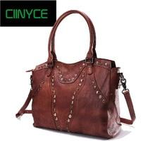 Women Bags 2018 Original Design Vintage Top Handle Genuine Leather Rivets Satchel Shoulder Crossbody Handbag Big Tote