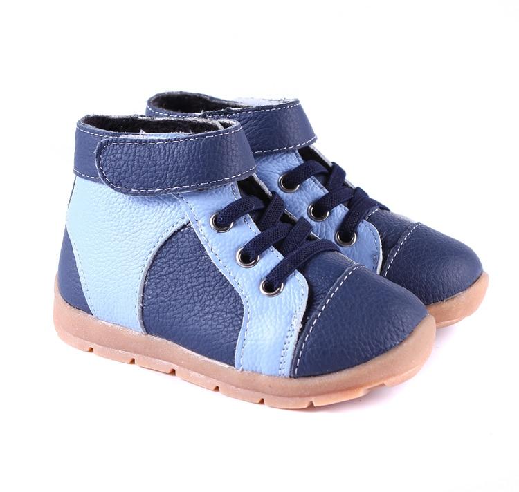 Buty chłopięce z prawdziwej skóry aksamitne wysokie buty z granatową czernią i brązem na wczesną wiosnę i głęboką jesienną zimę