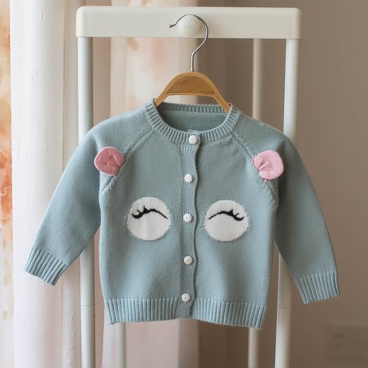все цены на New 2018 spring and autumn girl cardigan sweater girl infant baby kids cartoon fox sweaters baby sweaters