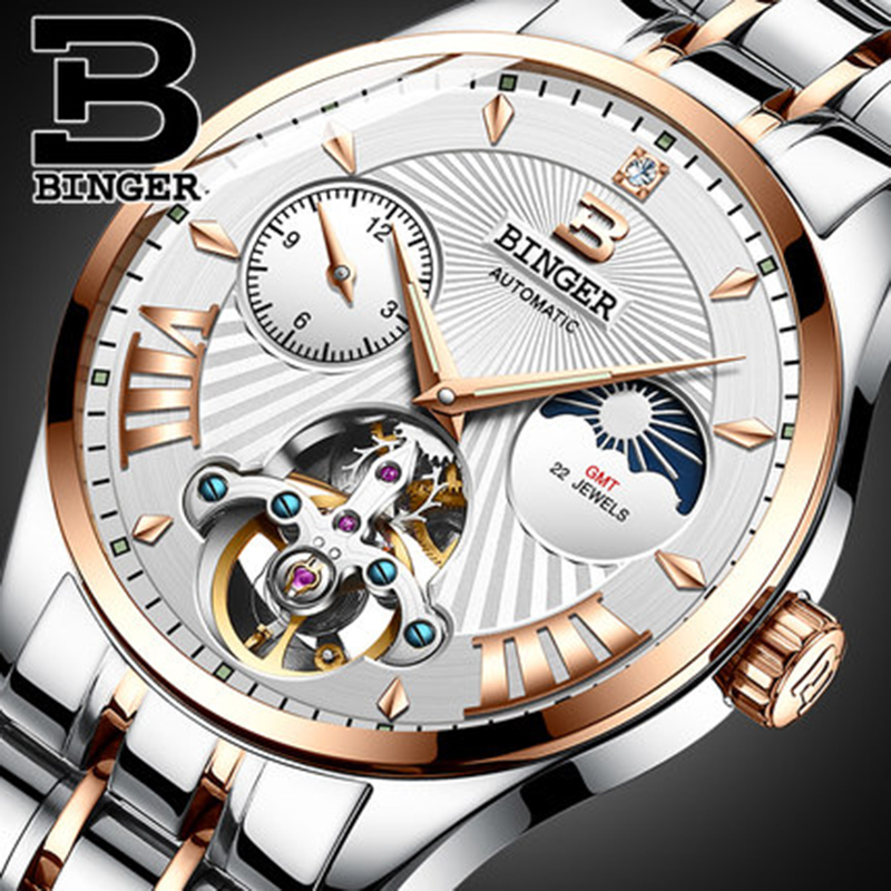 Genuine Luxury BINGER Brand Men watches automatic mechanical dual hollow waterproof calendar steel male leather strap Tourbillon đồng hồ binger bg54