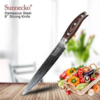 "SUNNECKO 8"" inch Slicing Kitchen Chef Knife Japanese Damascus VG10 Steel 60HRC Sharp Pakka Wood Handle Cutting Tools X-mas Gift"