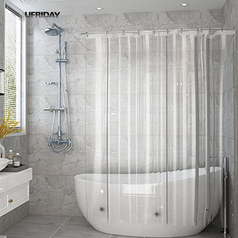 Bathroom Fixtures 3d Shower Curtains Home Bathroom Water Cube Peva Shower Curtain Clear Thicker Sanitary Ware Suite Cortina Rideau De Douche Aa