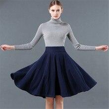 European Style Winter Skirt Women's Clothing Solid Women's Woolen Skirt Fashion High Waist Saia Pleated Skirt 5 Colors C1258
