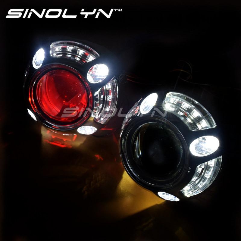 sinolyn angel eyes led car projector lens hid kit bi xenon. Black Bedroom Furniture Sets. Home Design Ideas