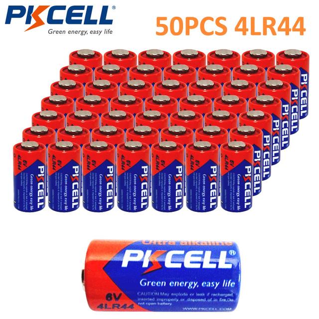 50 X PKCELL Battery 6V Batteries 4LR44  L1325 A544 Alkaline Battery Bateria Baterias