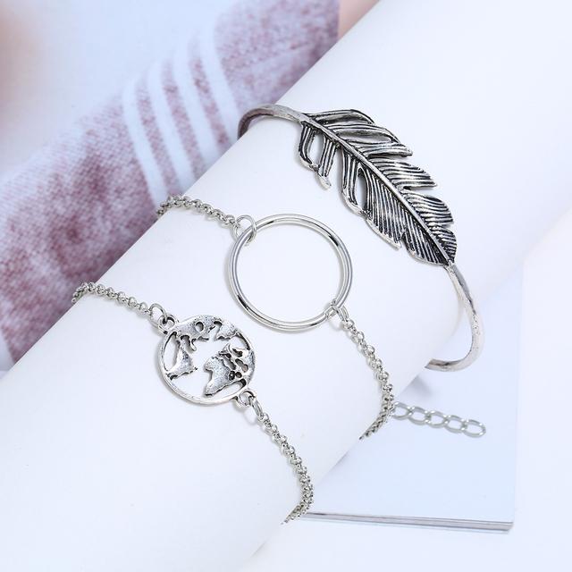 3Pcs Bohemian Handmade Leaf Map Bangles Bracelets Set