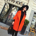 2016 New Fashion Winter Coat Women Wool Double Breasted Outerwear Three Quarter Sleeve Turn Down Collar Wool Cashmere YY90